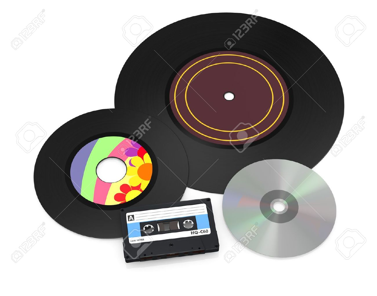 one 12'' and a 7'' vinyl records, a compact cassette and a cd disc (3d render) Stock Photo - 17235300