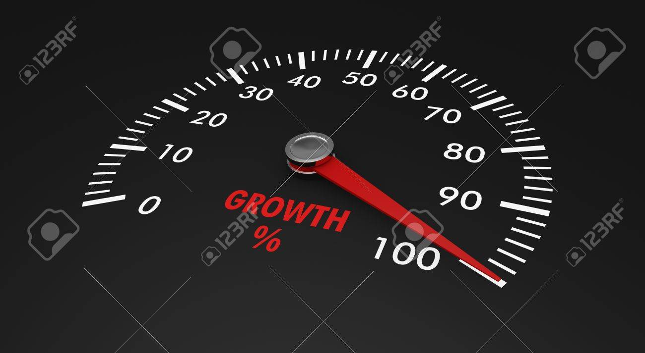speedometer with growth level, with needle on the 100% (3d render) Stock Photo - 17235260