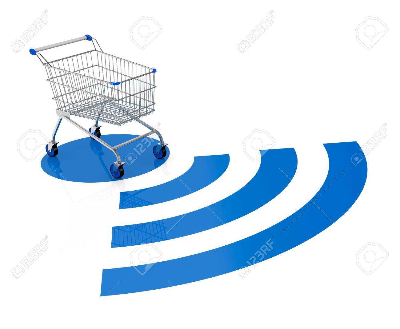 one shopping cart with a wireless symbol (3d render) Stock Photo - 17235320