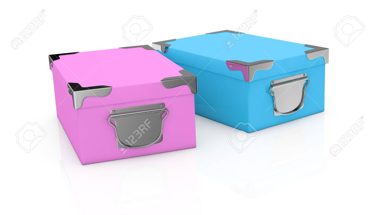 two pink and blue cardboard boxes (3d render) Stock Photo - 17235345