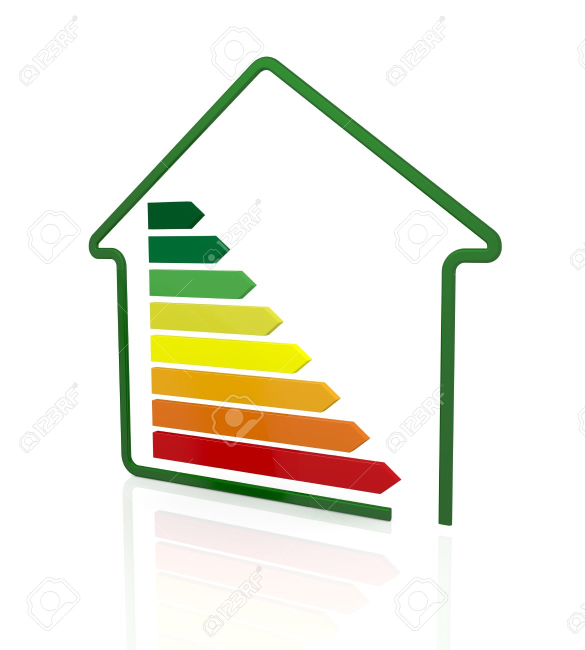 energy performance scale with a stylized house (3d render) Stock Photo - 17574369