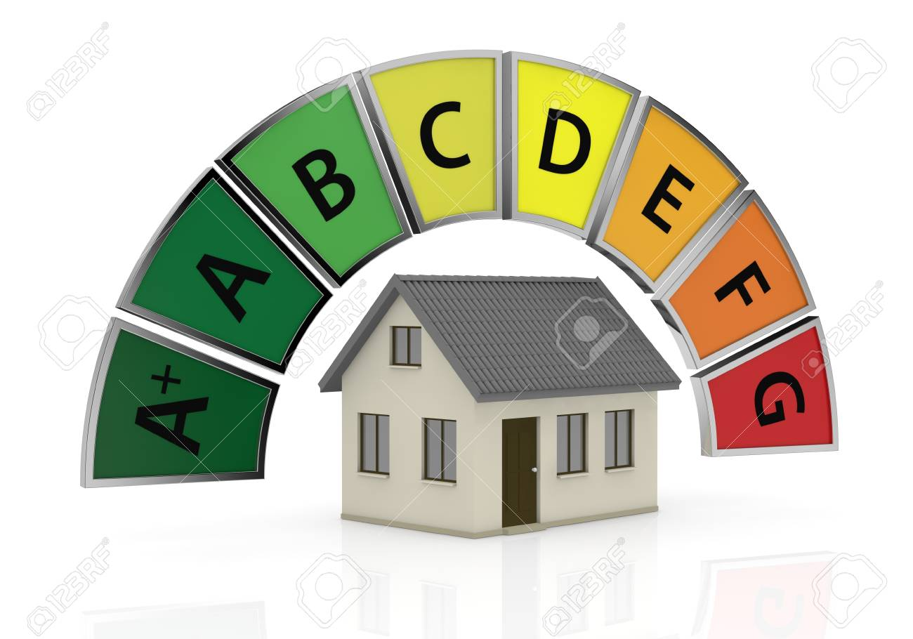 energy performance scale with a house (3d render) Stock Photo - 17574521