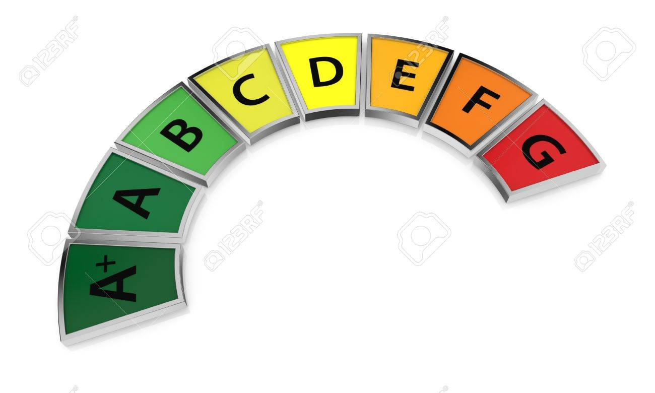 energy performance scale from a+ to g (3d render) Stock Photo - 17574404