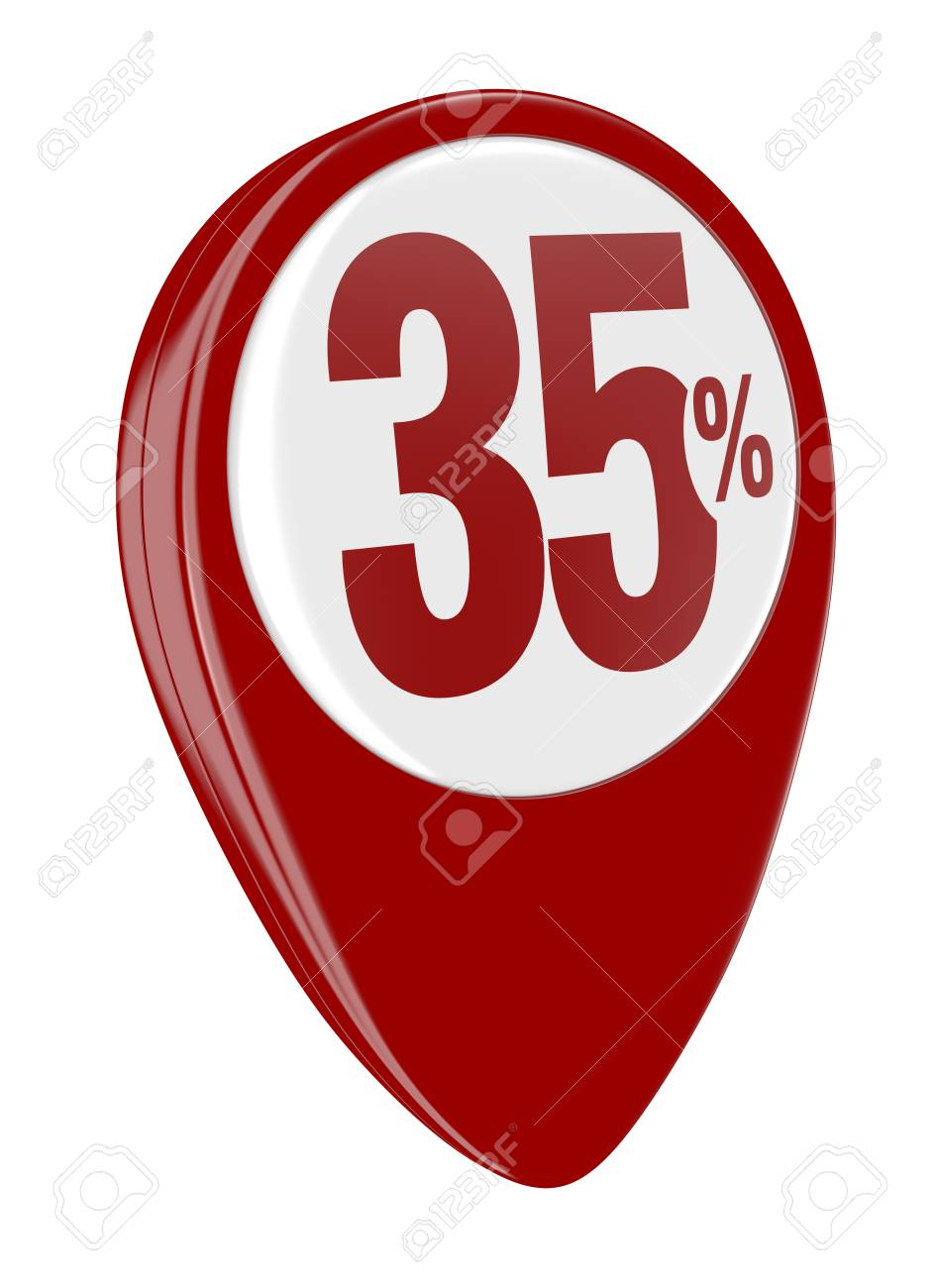 one pin with the number thirty five and the percent symbol (3d render) Stock Photo - 17574458