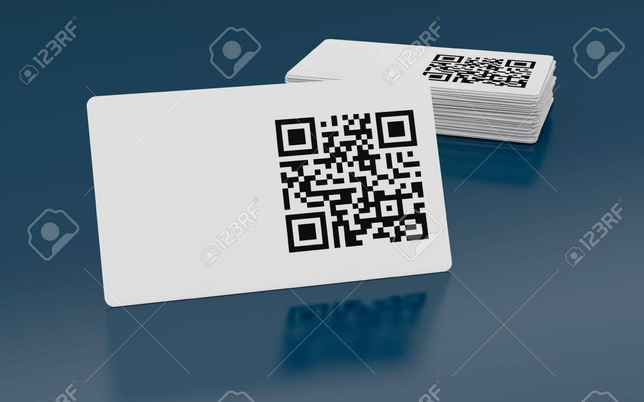 Business Card With Qr Code (3d Render) Stock Photo, Picture And ...