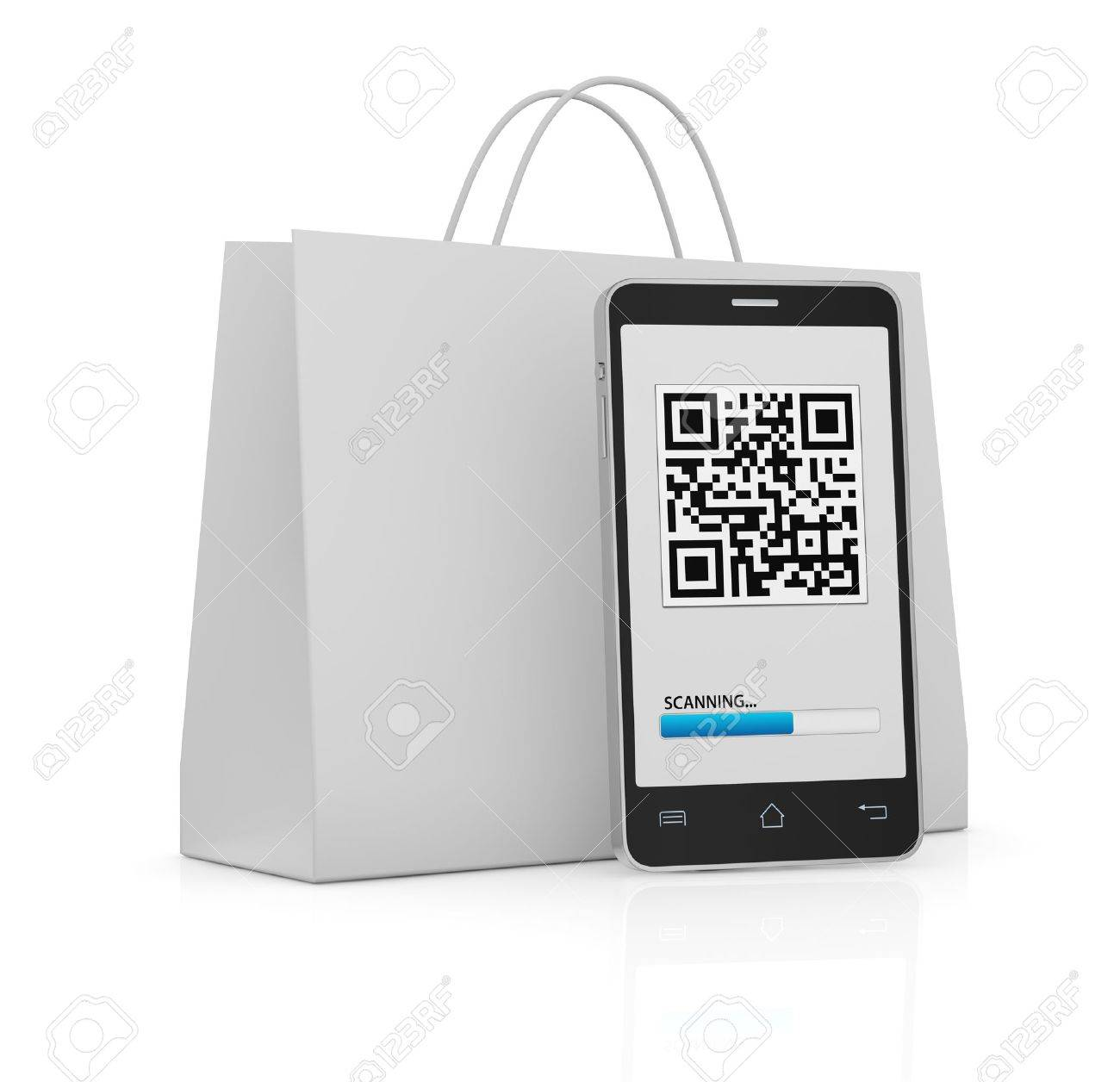 one cell phone with a qr code on display and a shopping bag (3d render) Stock Photo - 17954083