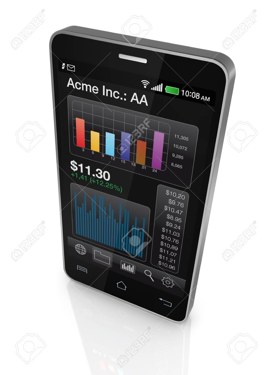 modern smartphone with stock market app (3d render) Stock Photo - 17954111