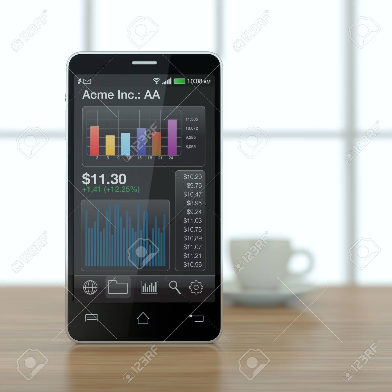 one modern smartphone with stock market app and a coffee cup (3d render) Stock Photo - 17954173