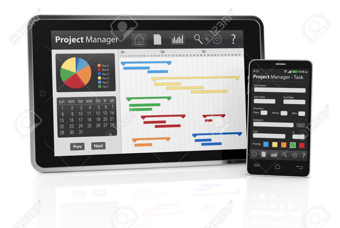 One tablet pc and a cellphone with project manager software and one tablet pc and a cellphone with project manager software and gantt chart 3d render nvjuhfo Choice Image