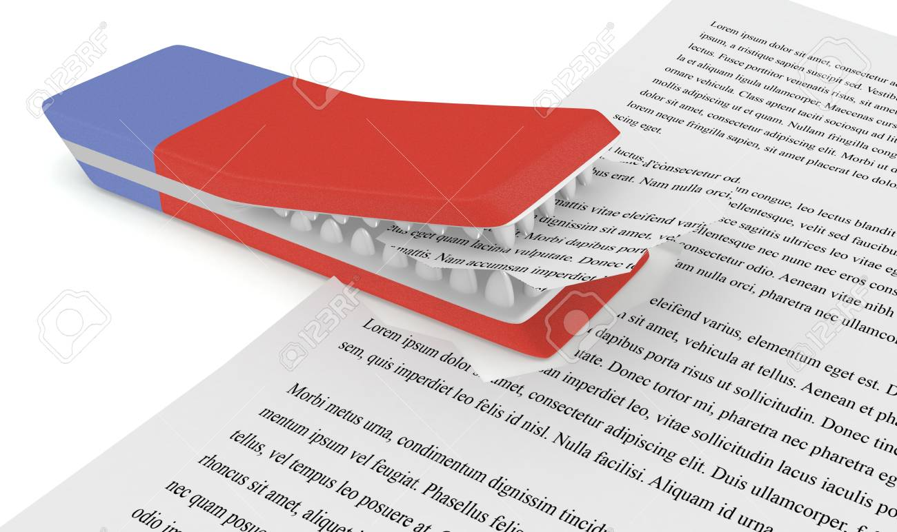 one eraser with mouth and teeth that eats a paper document (3d render) Stock Photo - 20006785