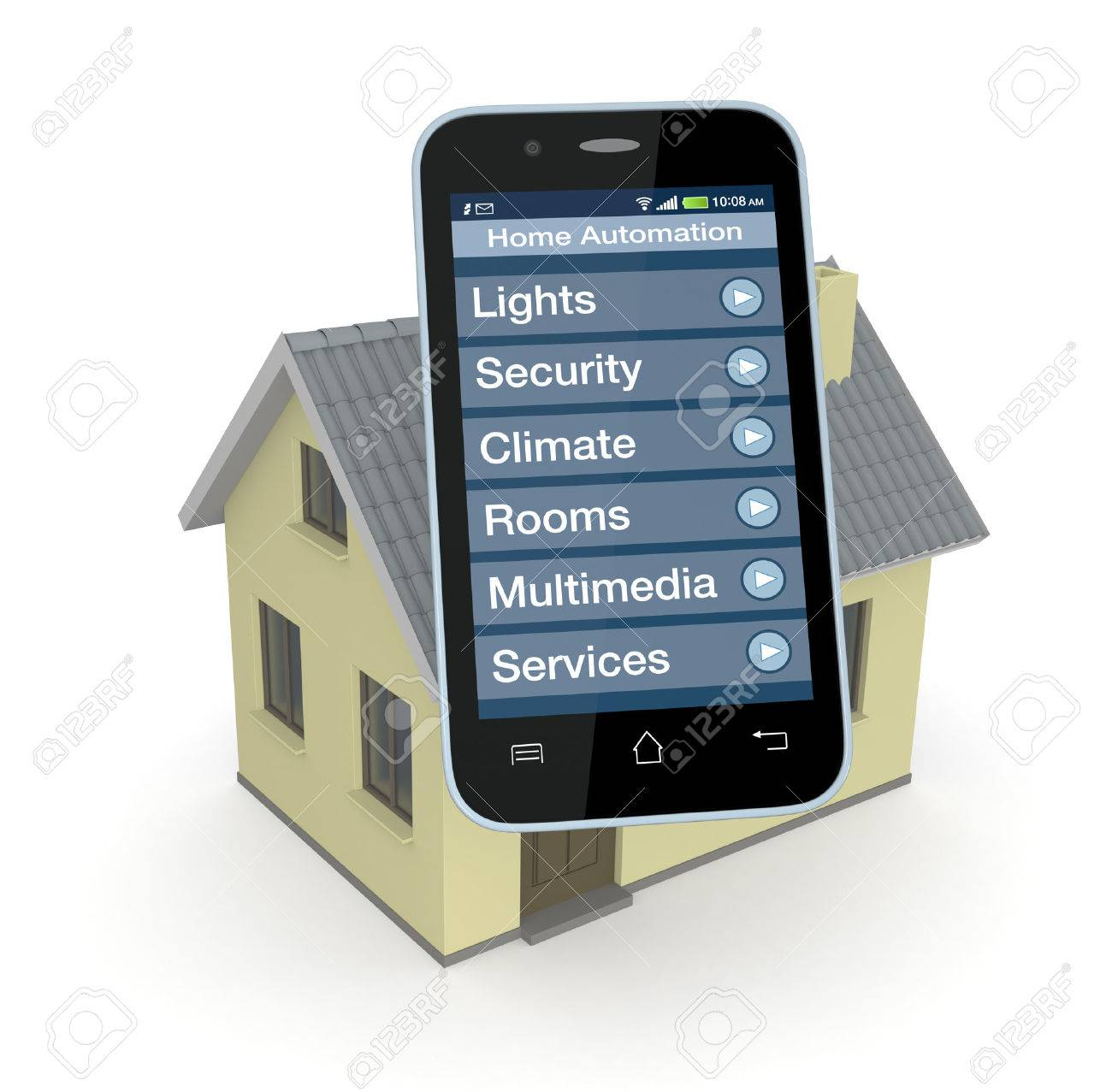 Smartphone Home Automation one house and smartphone with a software for home automation