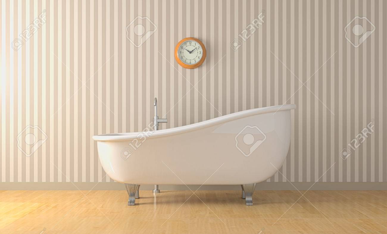 One bathroom with a vintage bathtub and a wall clock 3d render one bathroom with a vintage bathtub and a wall clock 3d render stock photo 23945312 amipublicfo Images