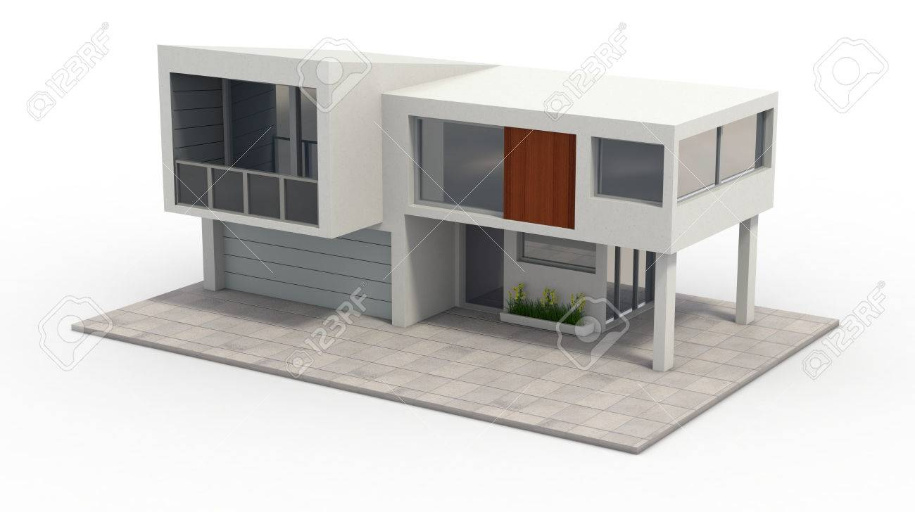 One model of a modern house 3d render stock photo 26368947