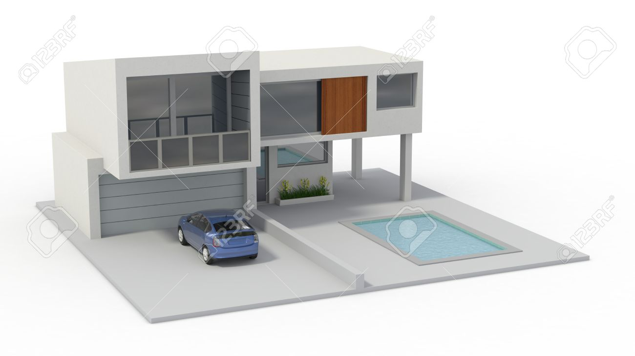 one model of a modern house 3d render stock photo picture and
