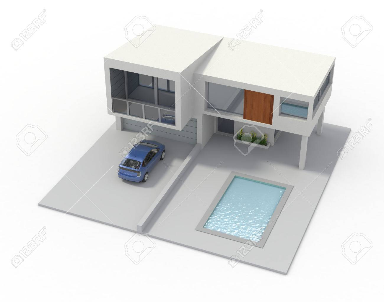 One model of modern house 3d ender stock photo picture nd