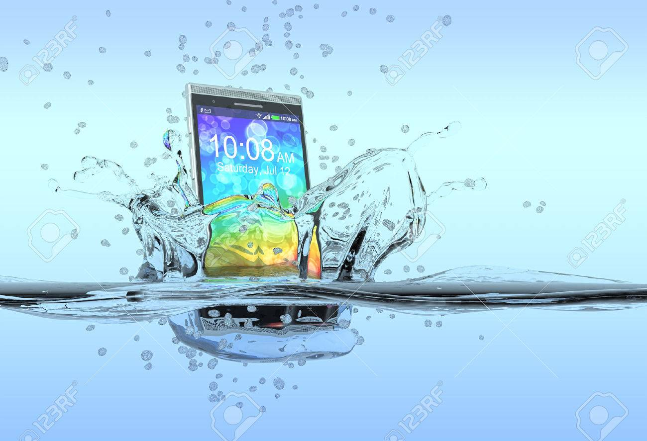 one smartphone that falls in the water with splashes around it, concept of waterproof product 3d render - 28391012