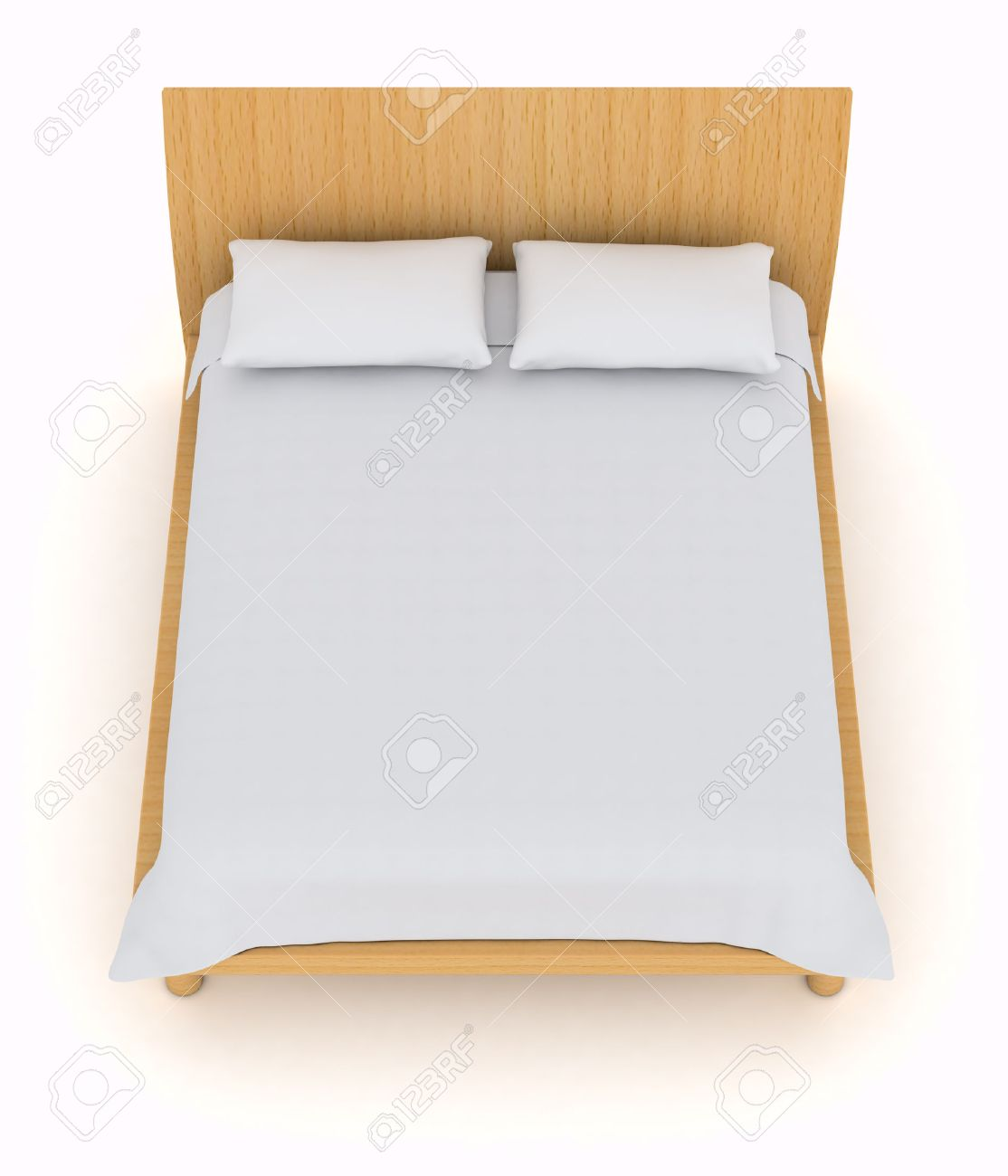 White bed top view - Top View Of A Double Bed With White Pillows And Blanket 3d Render Stock