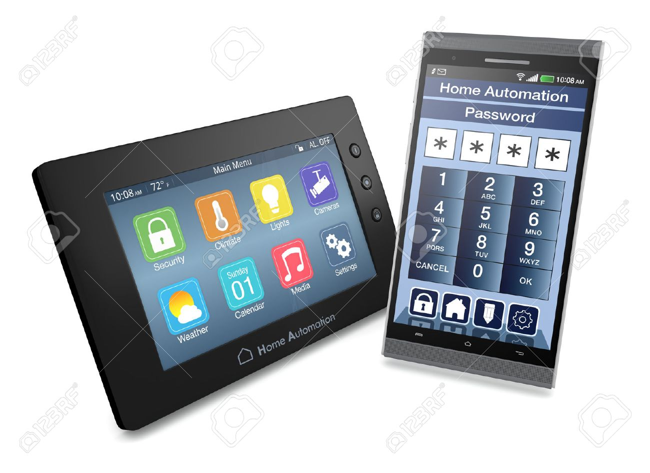 Smartphone Home Automation control panel for home automation system with a smartphone with