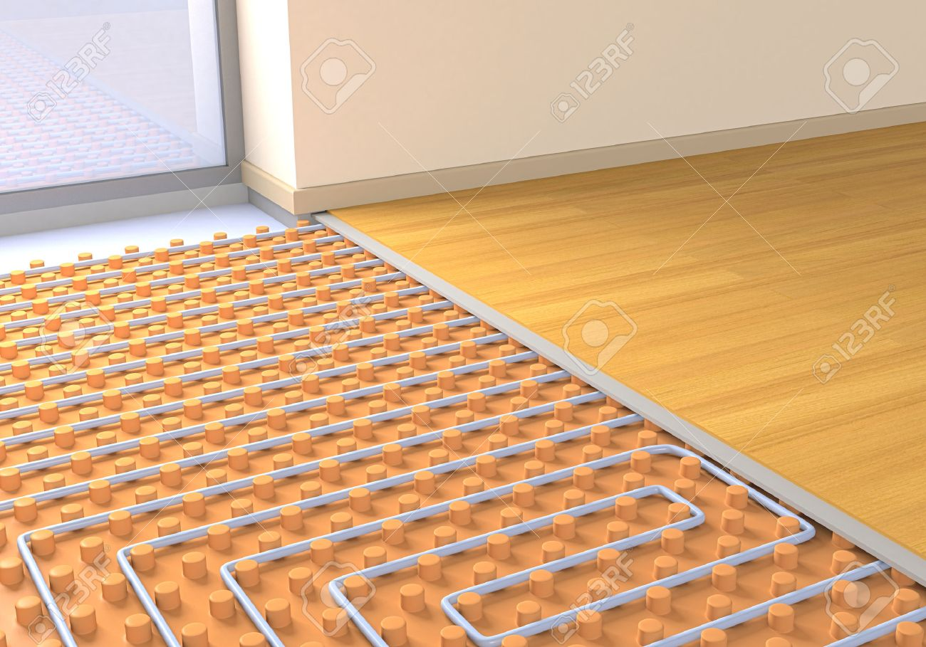 one room with a floor heating system (3d render) stock photo