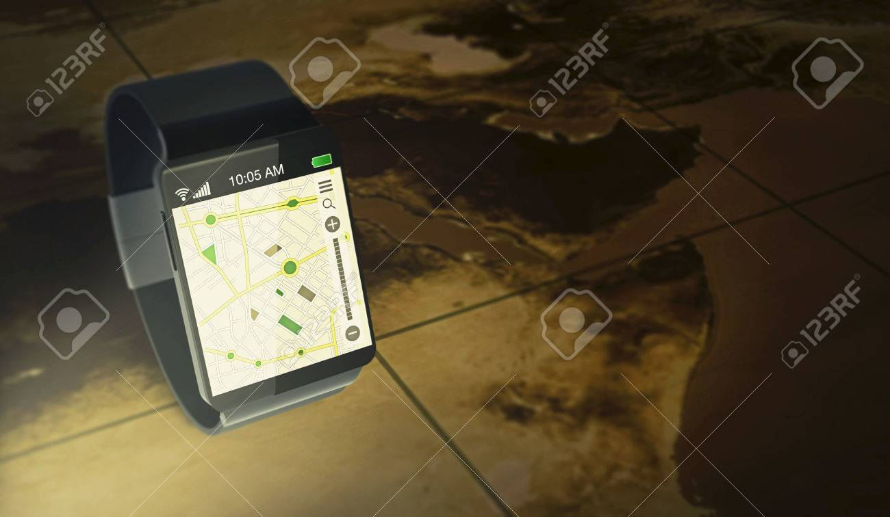 smartwatch with gps navigation app over an ancient map (3d render)