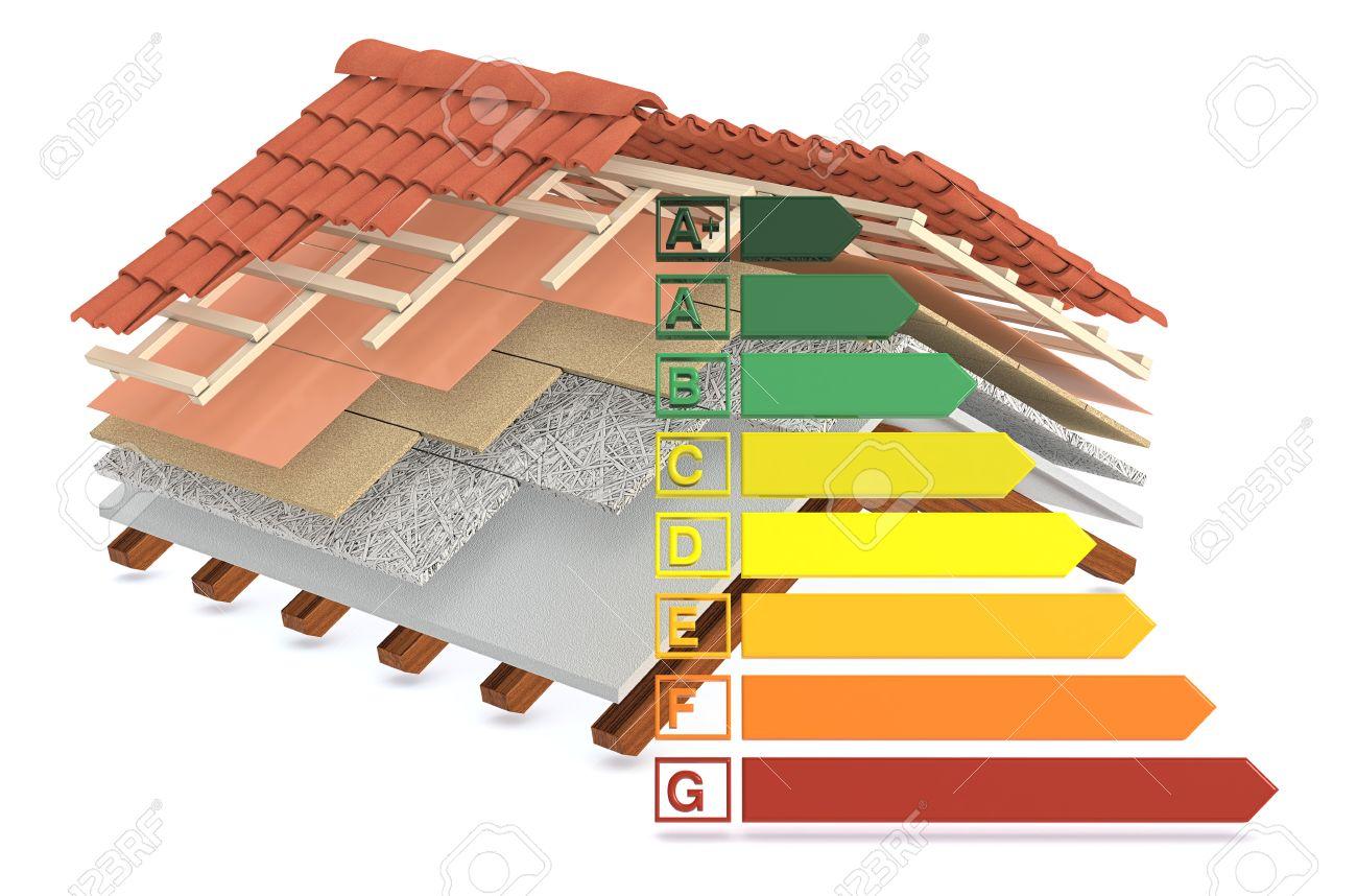 section d'un toit de la maison. toutes les couches sont visibles