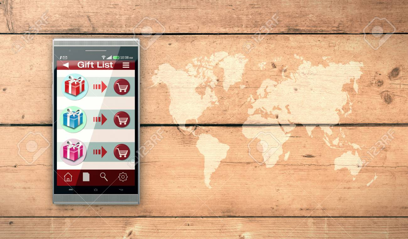 Smartphone with an app for online shopping world map on wooden smartphone with an app for online shopping world map on wooden background 3d render gumiabroncs Gallery