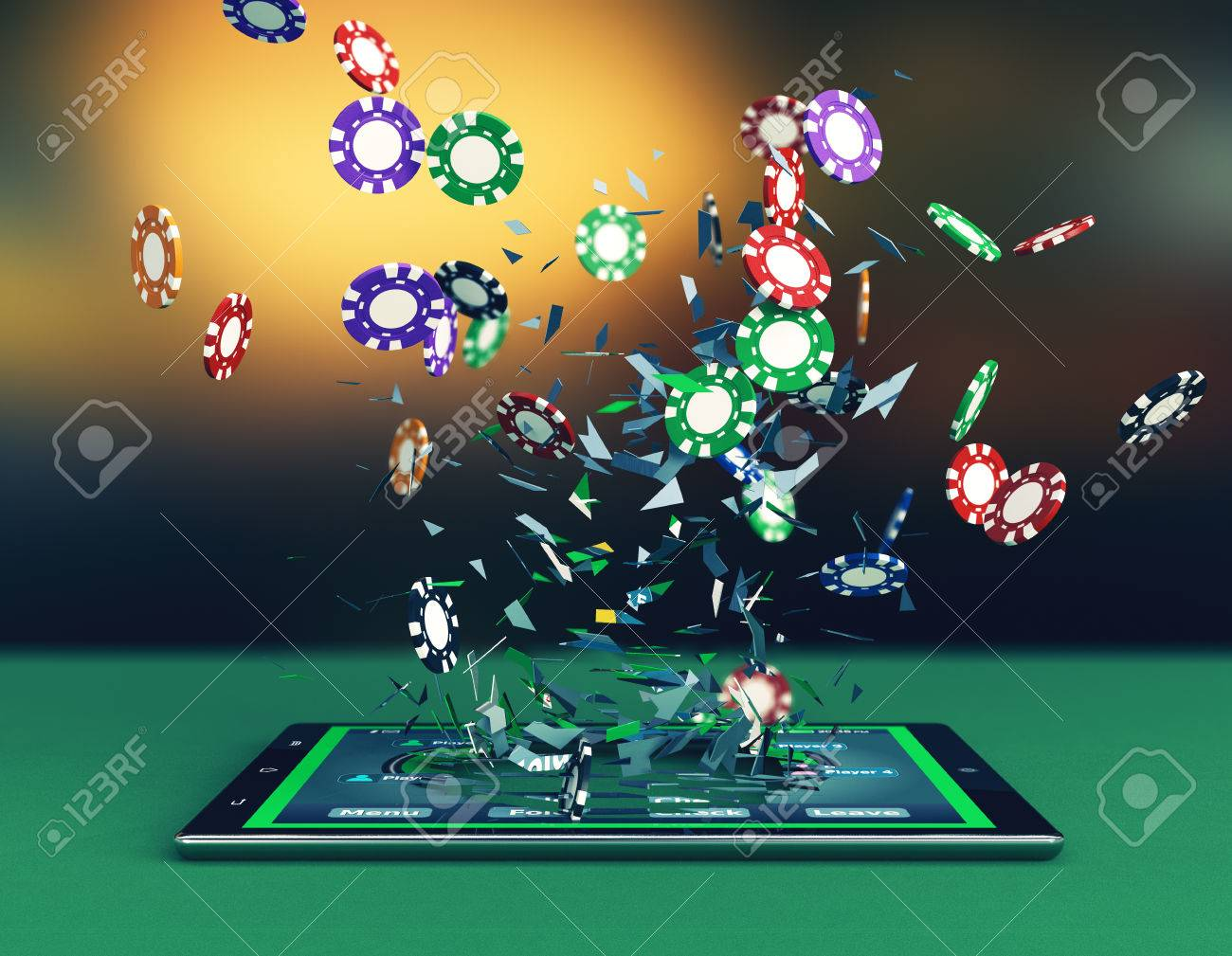 Tablet pc with a poker app and stacks of poker chips (3d render.