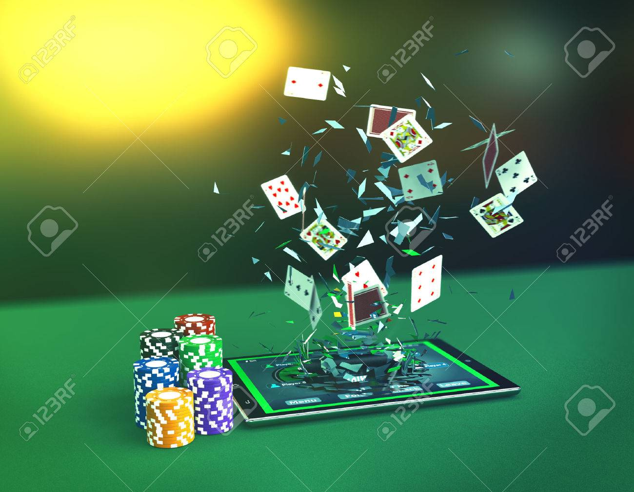 Tablet pc with a poker app in a winning situation, empty space.