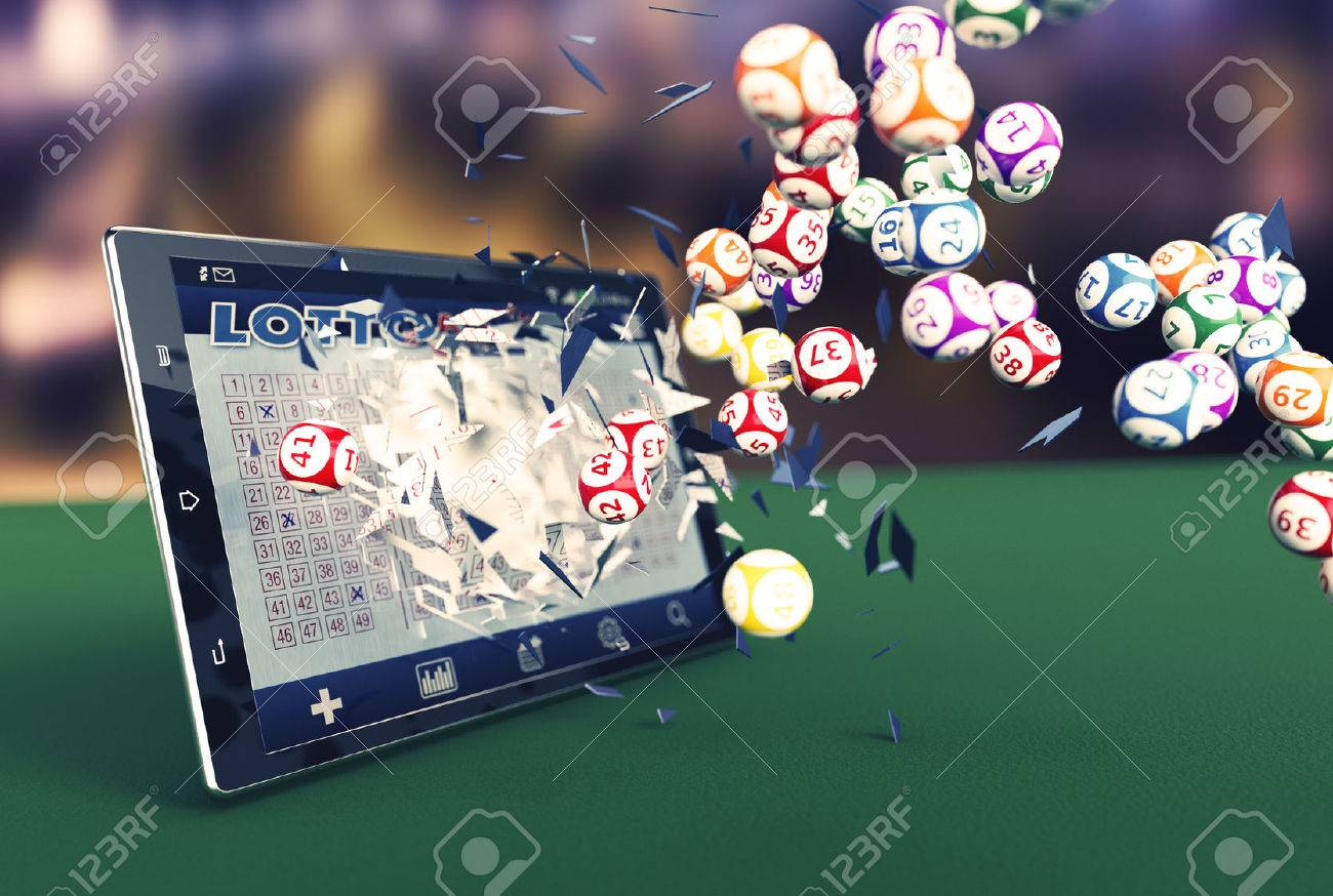 tablet pc with a lottery app and lottery balls coming out by breaking the glass (3d render) - 52232133
