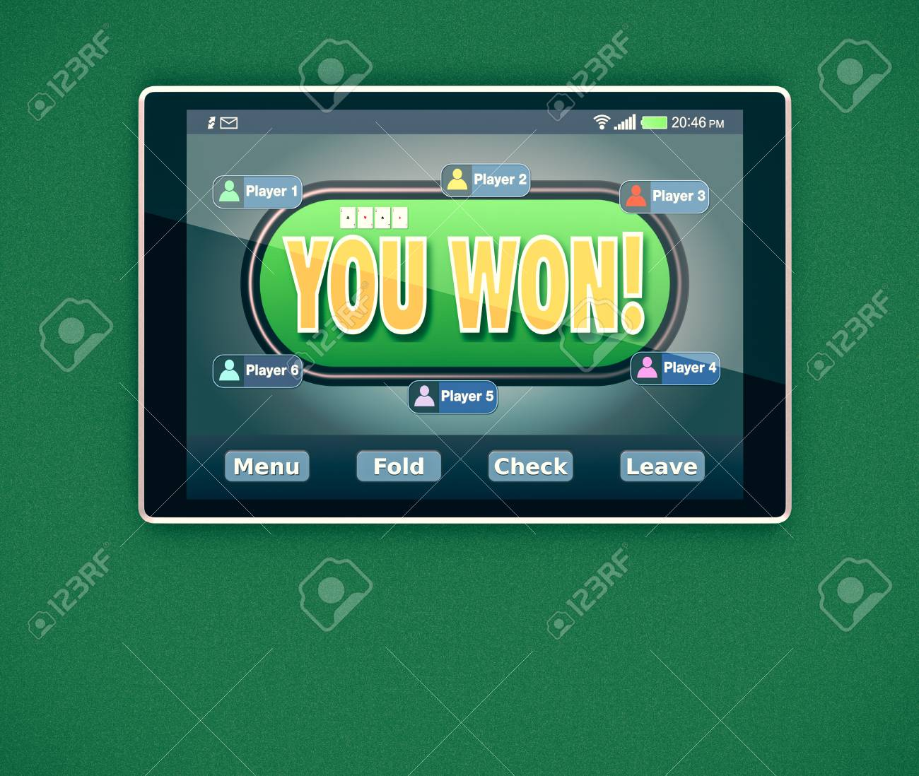 Tablet pc with a poker app and stacks of poker chips on white.