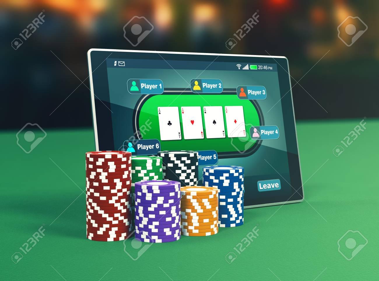 Tablet pc poker app stacks poker stock illustration 369764513.