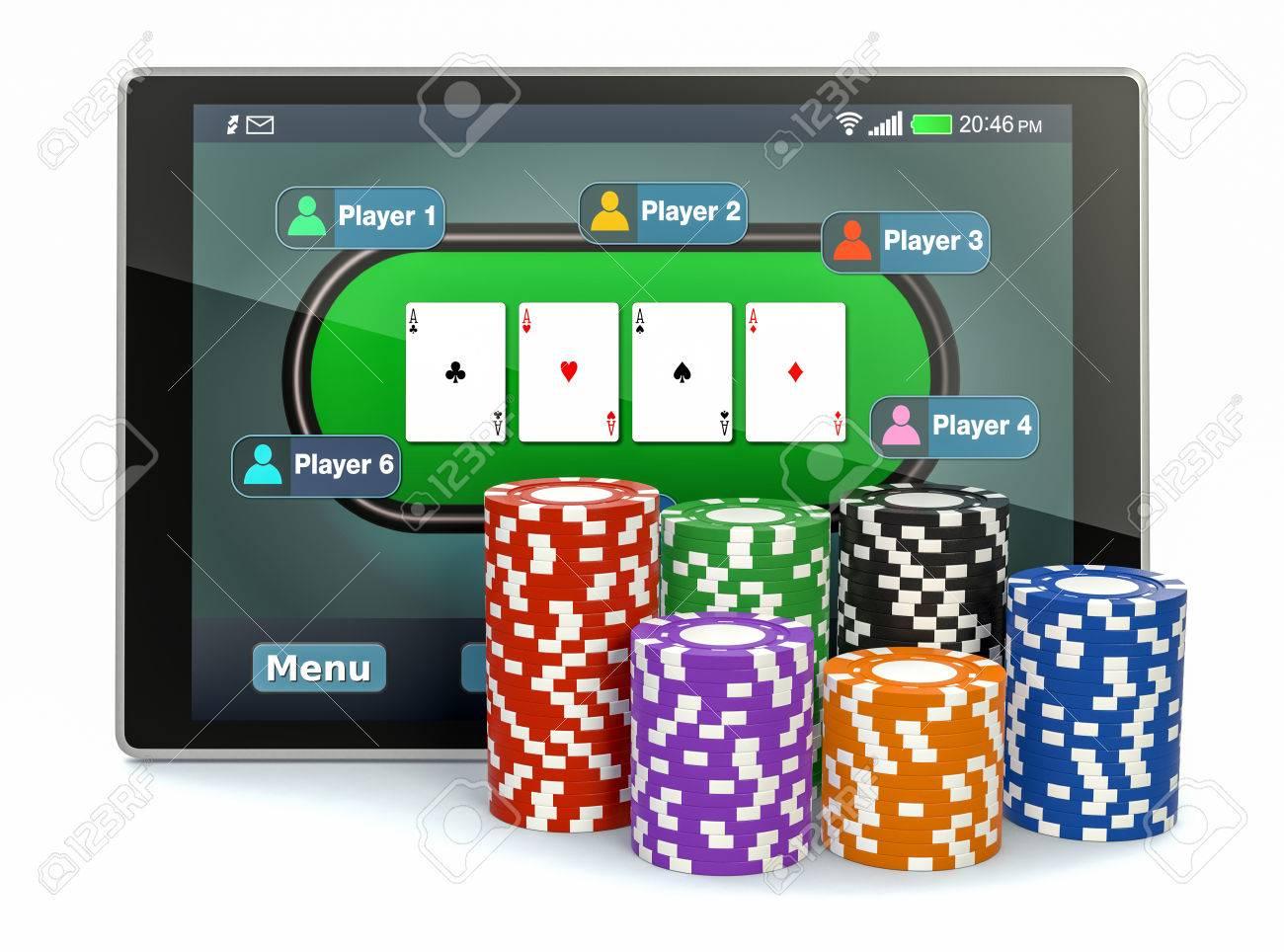 Tablet pc poker app poker cards stock illustration royalty free.