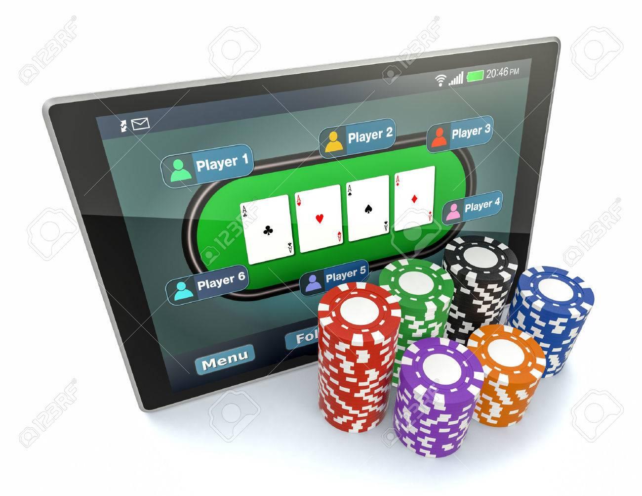Royalty free stock illustration of tablet pc poker app poker chips.