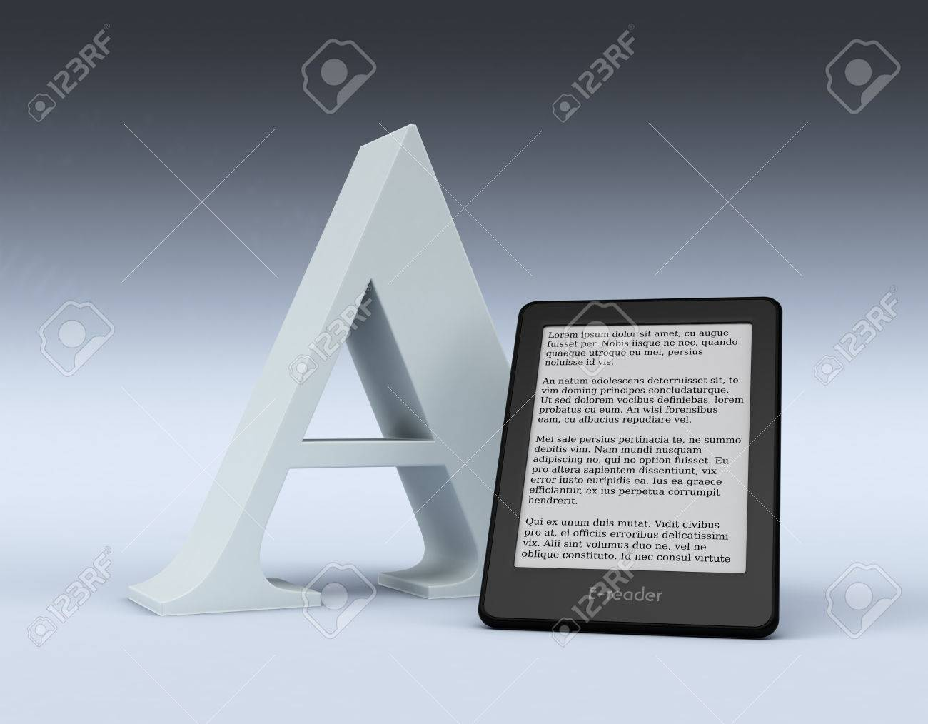 Stock Photo  Ebook Reader With A Big Letter A, Text Is The Lorem Ipsum (3d  Render)