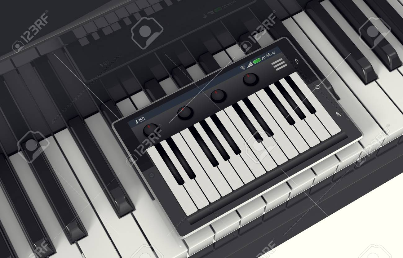 closeup view of a piano with a tablet pc and a music app, concept