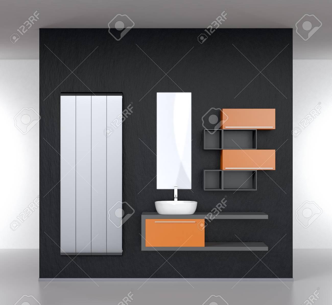 Modern Bathroom Furnishings With A Radiator On A Dark Wall D - Modern bathroom furnishings