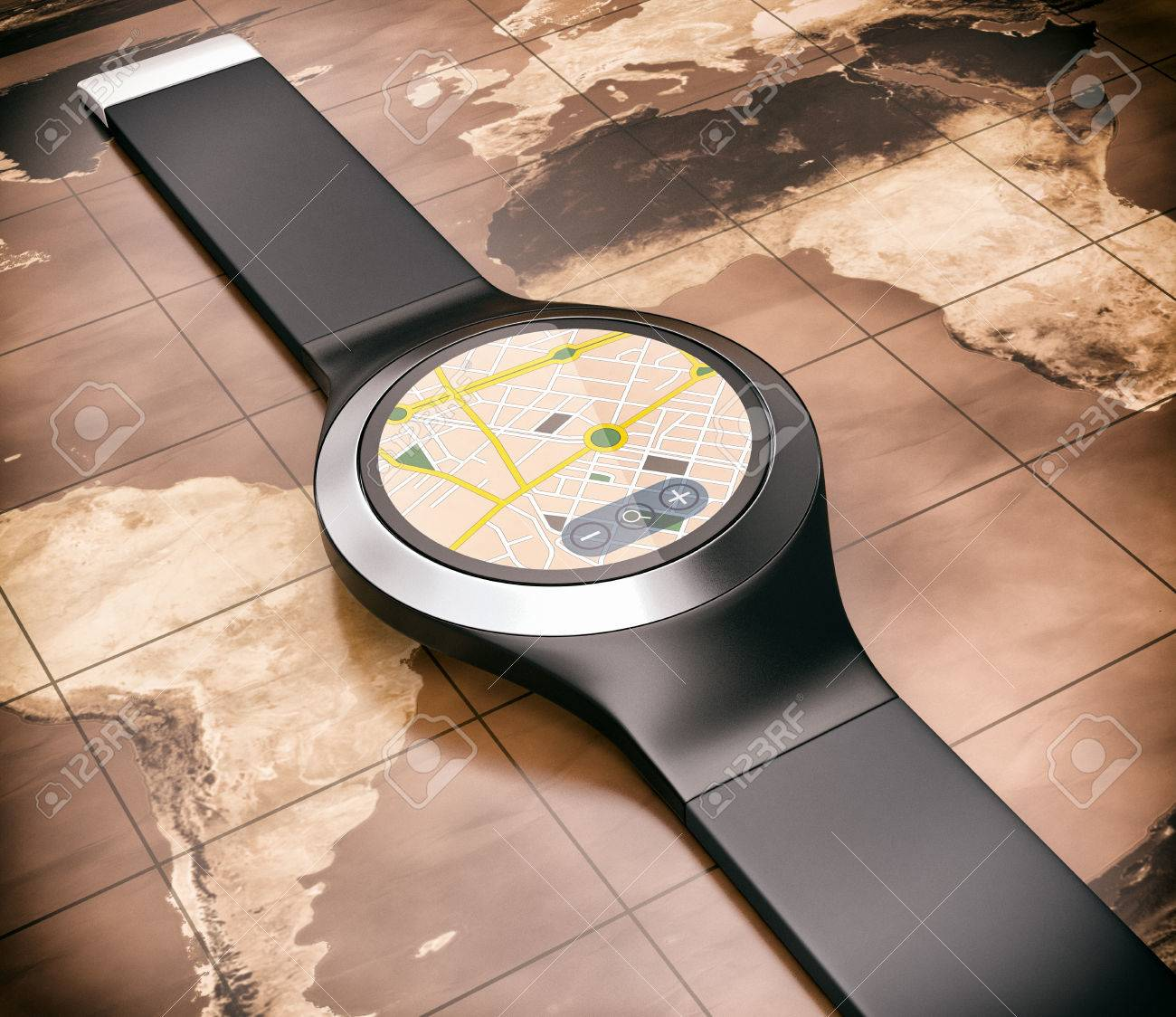 Top view of a smartwatch with a gps app world map on background stock photo top view of a smartwatch with a gps app world map on background 3d render gumiabroncs Gallery