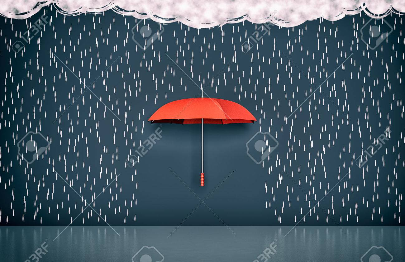 wall with the drawing of dark clouds, rain and one umbrella, concept of protection and security (3d render) - 57910825