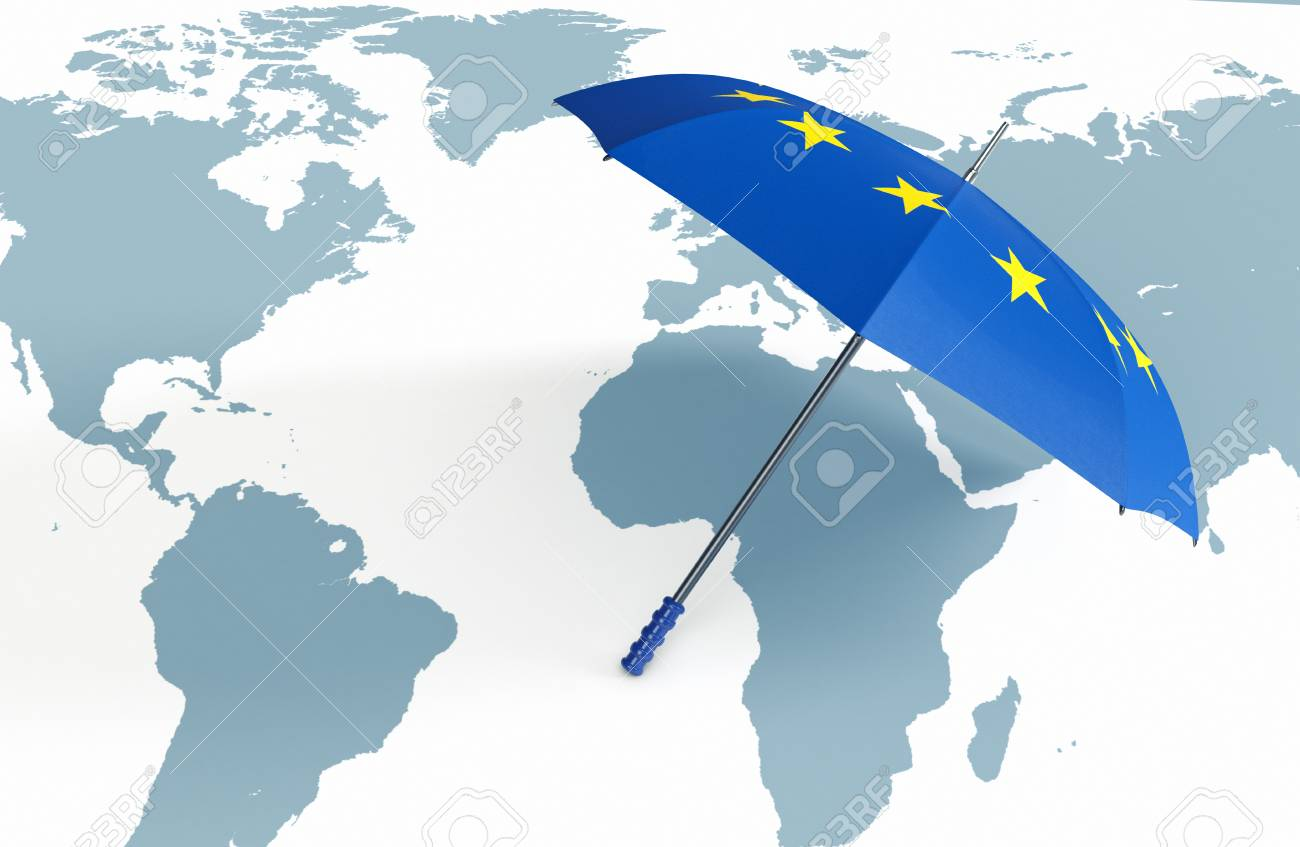 One umbrella made with the europe flag and a world map concept one umbrella made with the europe flag and a world map concept of world security gumiabroncs Gallery
