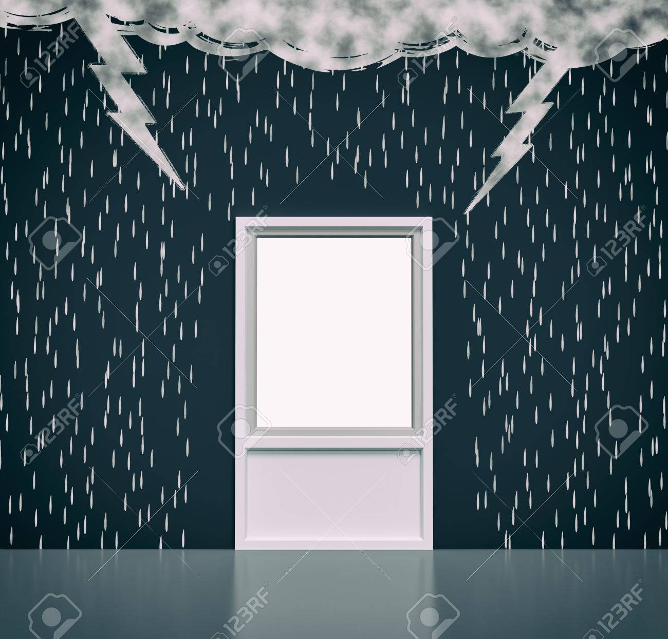 Wall With The Drawing Of Dark Clouds Rain Lightning A Window