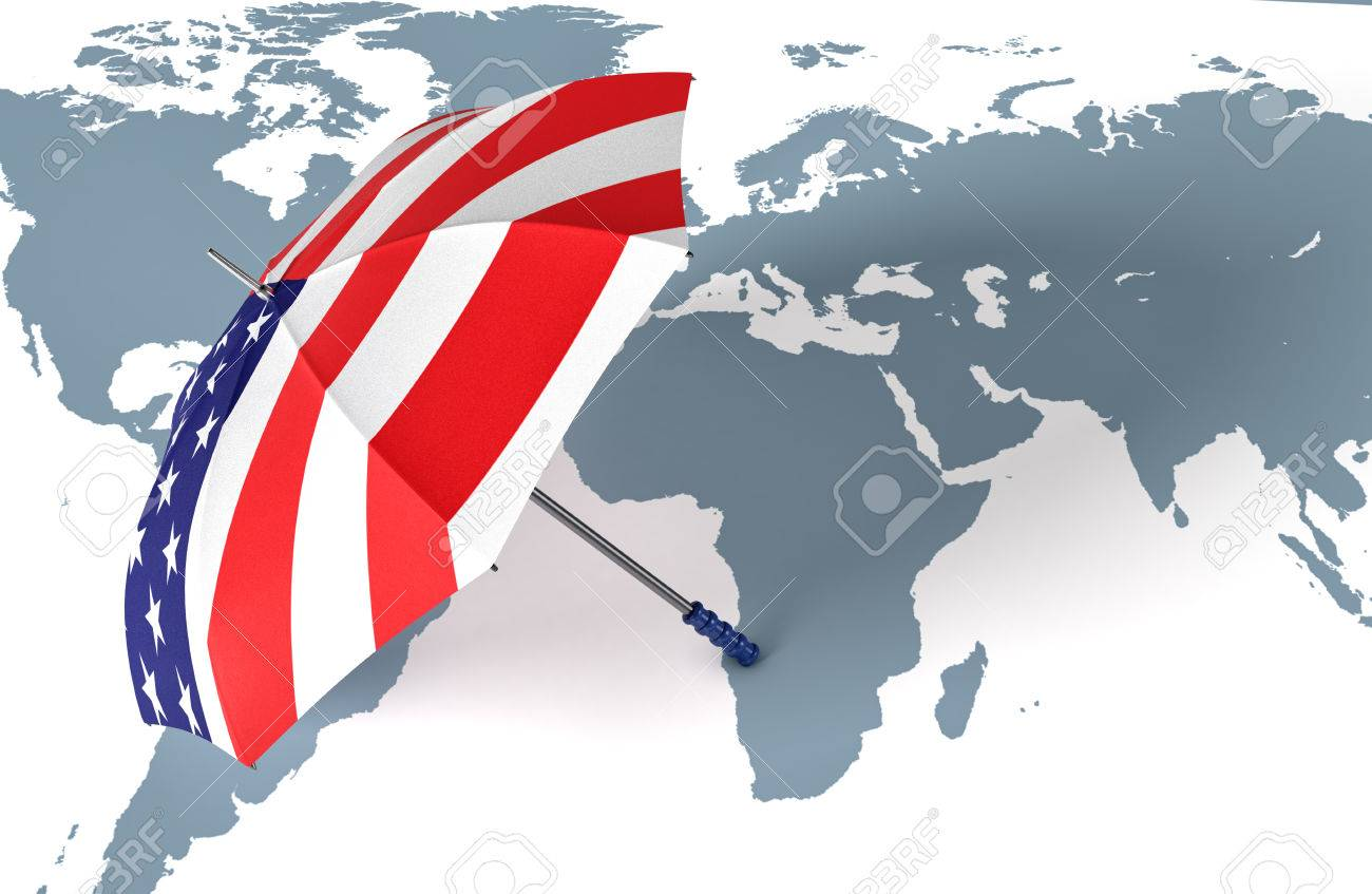 One umbrella made with the usa flag and a world map concept stock one umbrella made with the usa flag and a world map concept of world security gumiabroncs Gallery