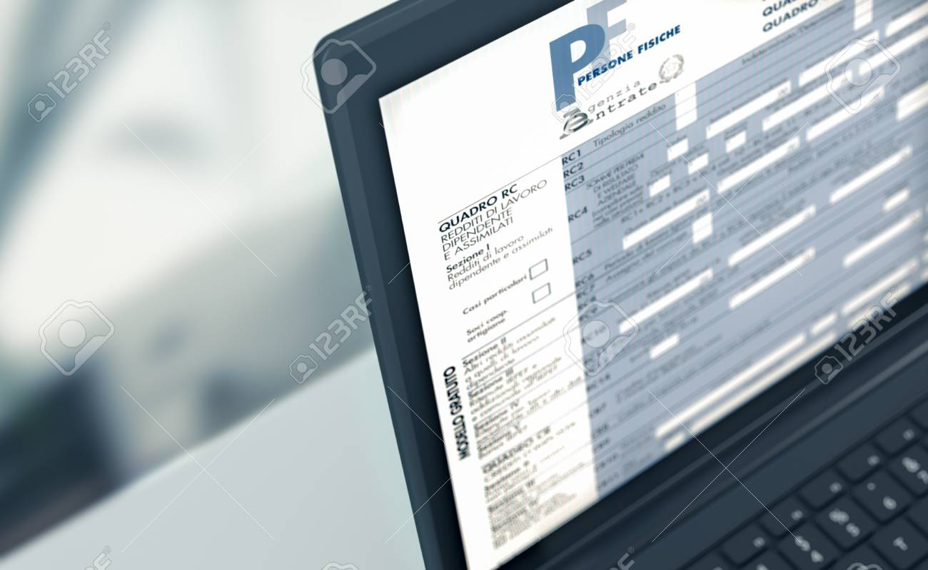 closeup of a computer laptop with a tax form on screen, concept of online tax filing (3d render) - 96501093