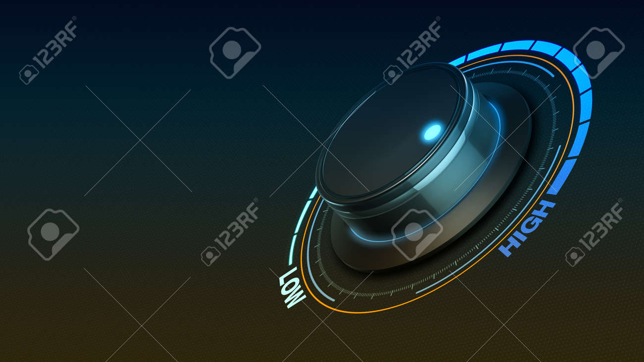 Close-up view of a knob with a circular hud in the dark - 163187511
