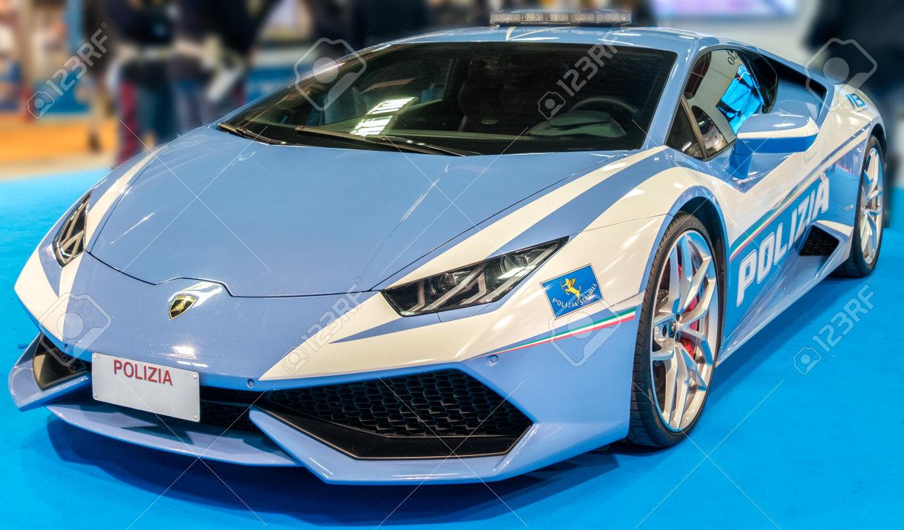 Bologna Italy December 3 2016 Police Sport Car Lamborghini