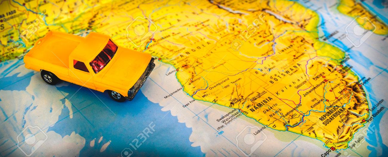 Namibia South Africa Map Desert Road Trip Destination Lizenzfreie ...