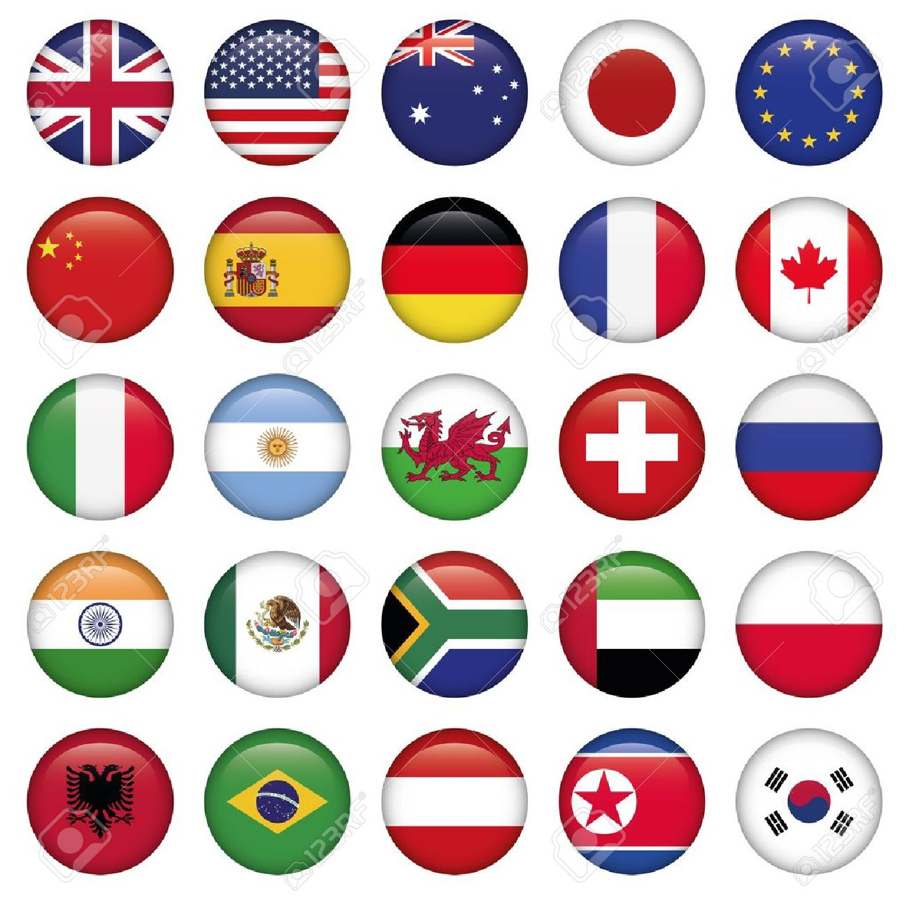 set of round flags world top states royalty free cliparts vectors