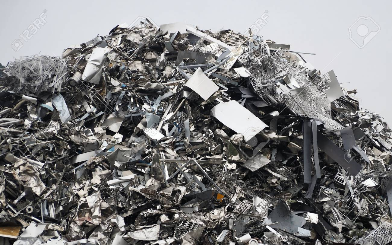 Large stack of aluminum and ferrous materials. Scrap ready for recycling - 116675794