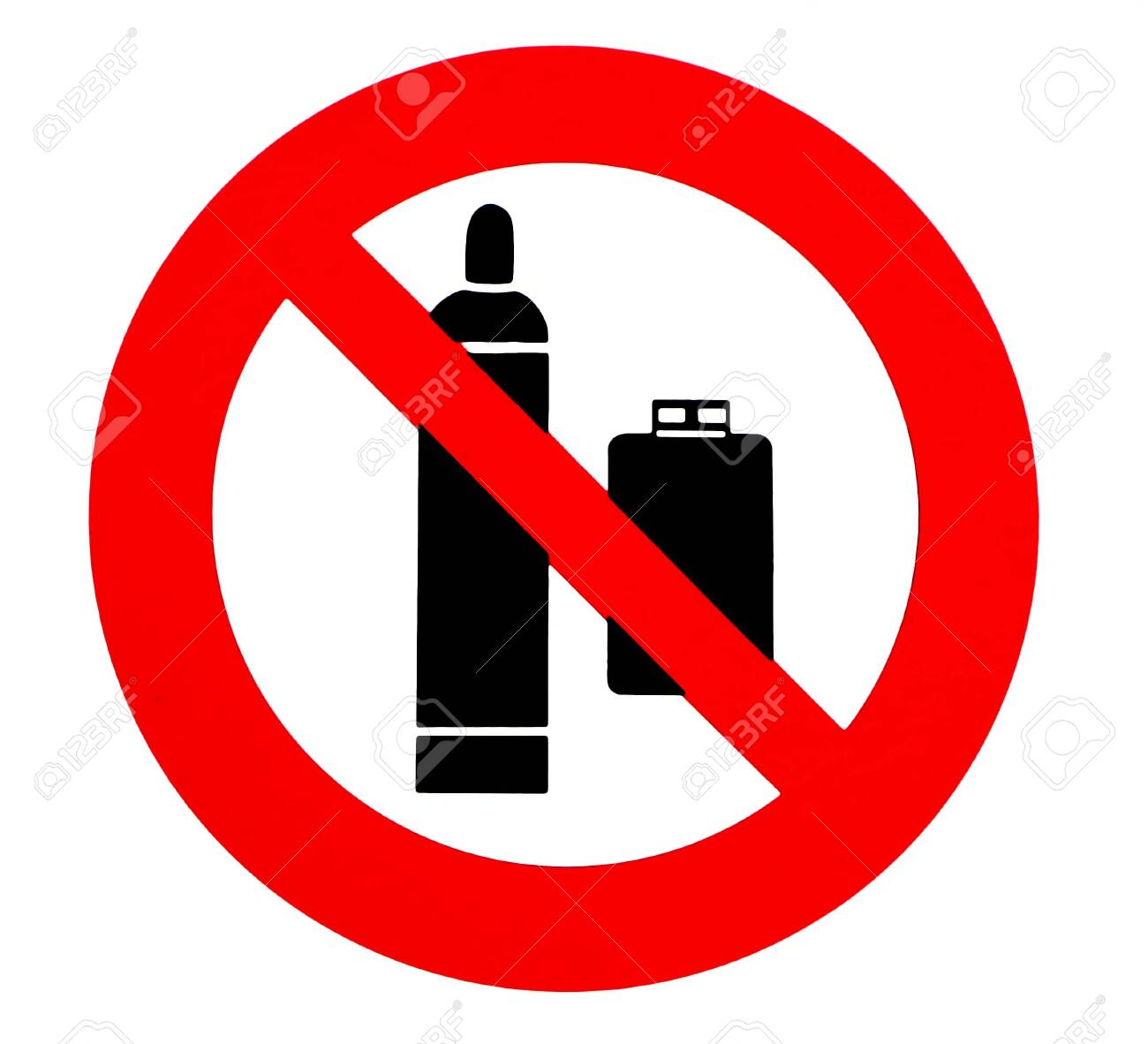Propane gas cylinders are not allowed. Prohibition and safety sign. - 145169520