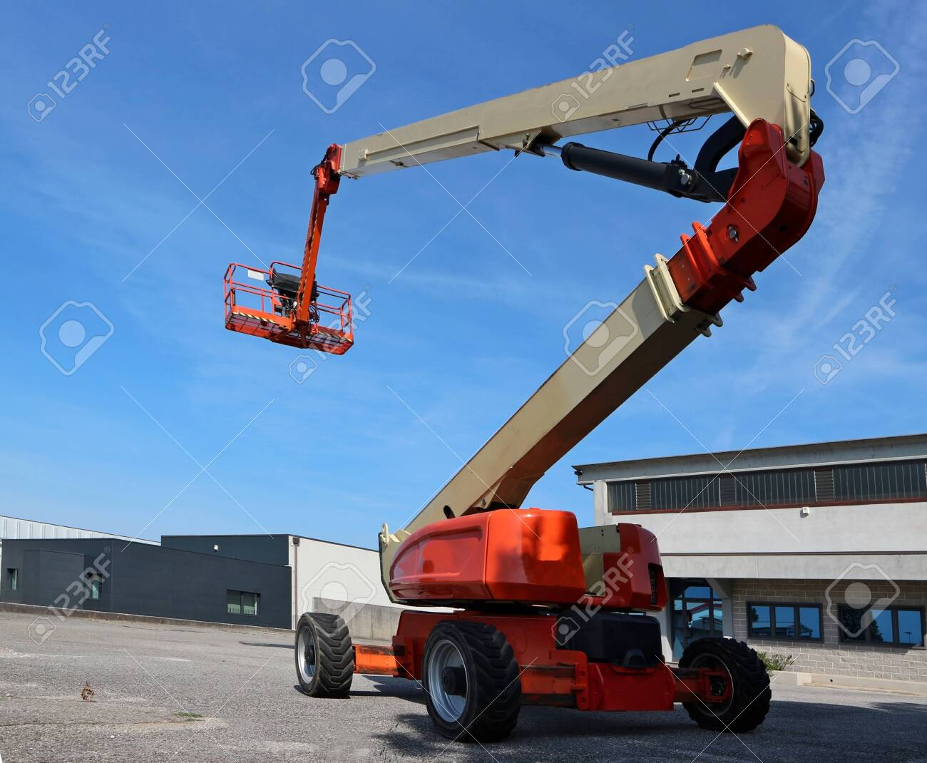Aerial work platform in an industrial area. No people. - 145169627