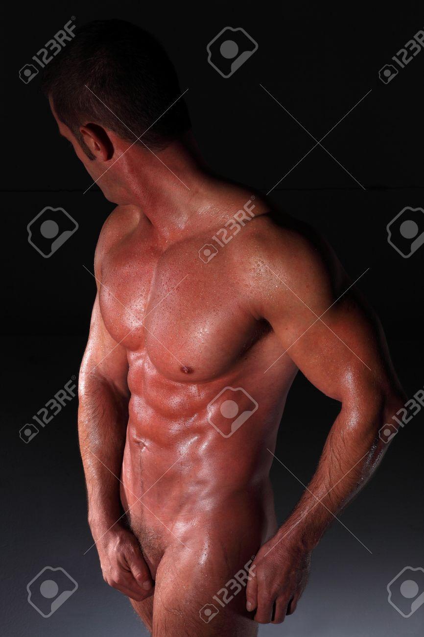 muscular nude black man Stock Photo - 14900330